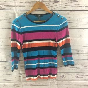 Ralph Lauren Multicolored Striped Top - Petite Med